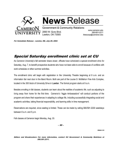 Special Saturday enrollment clinic set at CU