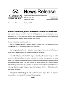Nine Cameron grads commissioned as officers