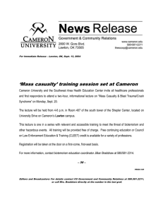 'Mass casualty' training session set at Cameron