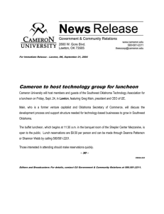 Cameron to host technology group for luncheon