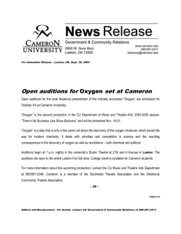 Open auditions for set at Cameron Oxygen