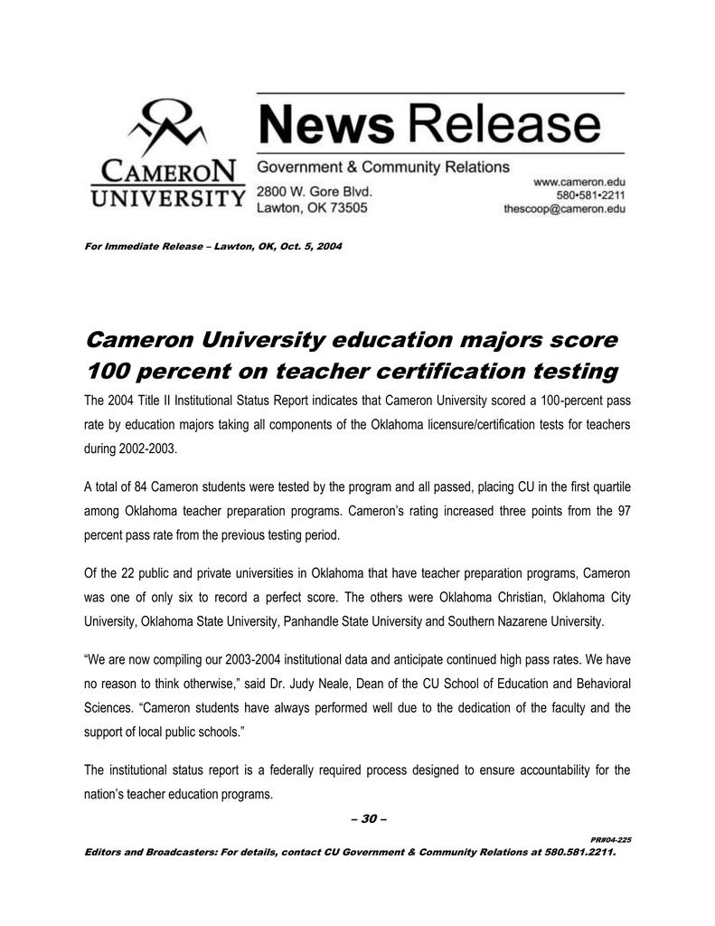Cameron University Education Majors Score 100 Percent On Teacher