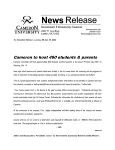 Cameron to host 400 students & parents