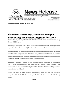 Cameron University professor designs continuing education program for CPAs