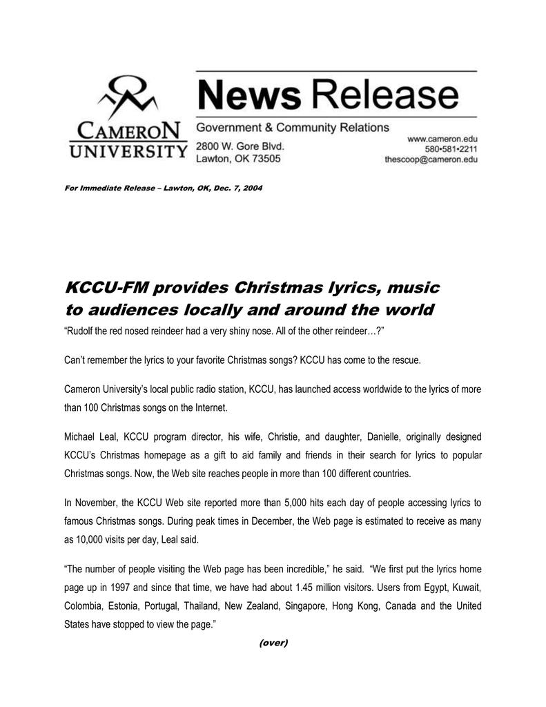 The First Day Of Christmas Lyrics.Kccu Fm Provides Christmas Lyrics Music