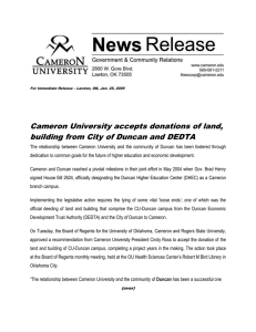 Cameron University accepts donations of land,