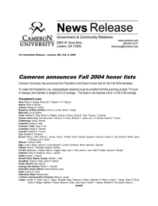 Cameron announces Fall 2004 honor lists