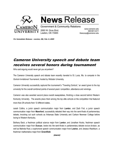 Cameron University speech and debate team receives several honors during tournament