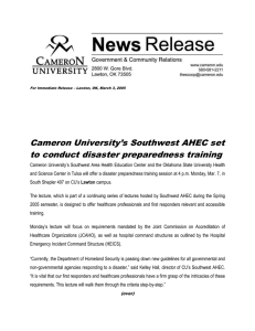 Cameron University's Southwest AHEC set to conduct disaster preparedness training