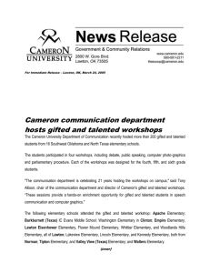 Cameron communication department hosts gifted and talented workshops