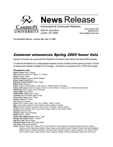 Cameron announces Spring 2005 honor lists