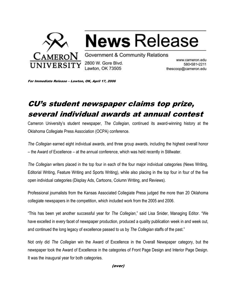 cu's student newspaper claims top prize,