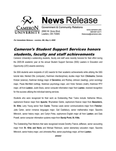 Cameron's Student Support Services honors students, faculty and staff achievements