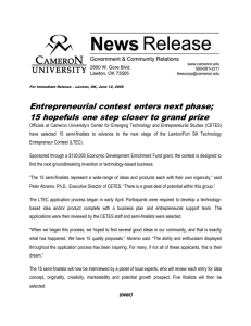 Entrepreneurial contest enters next phase;