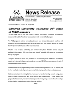 Cameron  University  welcomes  26 class of PLUS scholars