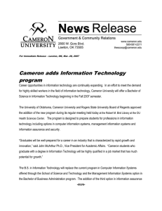 Cameron adds Information Technology program
