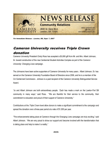 Cameron University receives Triple Crown donation