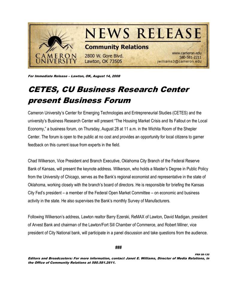 CETES, CU Business Research Center present Business Forum