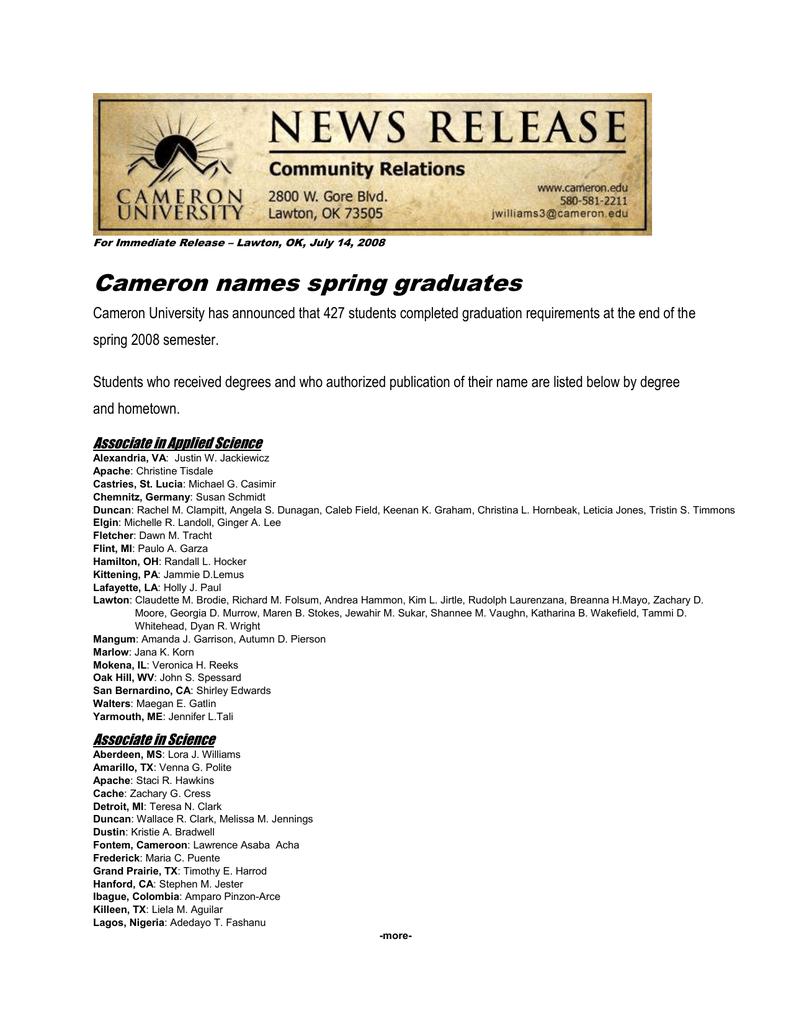 Cameron names spring graduates