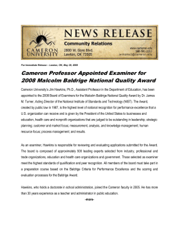 Cameron Professor Appointed Examiner for 2008 Malcolm Baldrige National Quality Award
