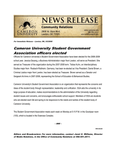 Cameron University Student Government Association officers elected