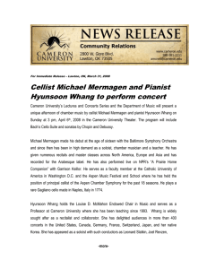 Cellist Michael Mermagen and Pianist Hyunsoon Whang to perform concert