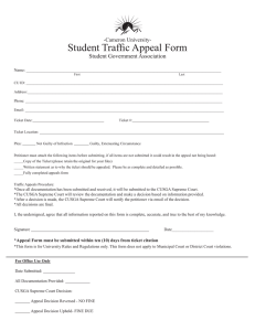 Student Traffic Appeal Form Student Government Association -Cameron University-