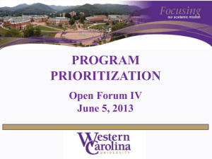 PROGRAM PRIORITIZATION Open Forum IV