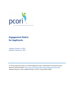 Engagement Rubric for Applicants Updated: October 13, 2015 Published: February 4, 2014