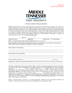 Sample Ad A Tennessee Board of Regents Institution