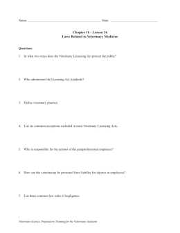 Chapter 16 - Lesson 16 Laws Related to Veterinary Medicine