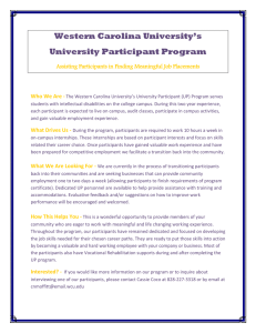 Western Carolina University's University Participant Program Who We Are -