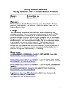 Faculty Senate Committee: Faculty Research and Creative Endeavor/ Workload ________________________________________________
