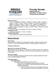 Faculty Senate  Meeting Minutes September 14, 2009, 4:30 pm