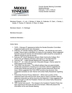 Faculty Senate Steering Committee Meeting Minutes February 7, 2011, 3:00 pm