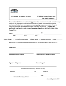 MTSU E-Mail Account Request Form Certain Employees Information Technology Division