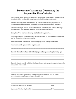 Statement of Assurance Concerning the Responsible Use of Alcohol