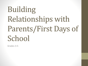 Building Relationships with Parents/First Days of School