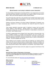 MEDIA RELEASE  Myriad Genetics' court ruling is a defeat for cancer researchers