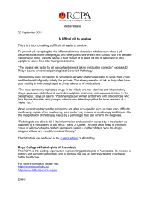 A difficult pill to swallow Media release 22 September 2011