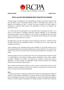 RCPA and ILPP RECOMMEND BEST PRACTICE IN CANCER  MEDIA RELEASE                                      28 MAY 2013