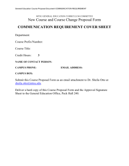 New Course and Course Change Proposal Form COMMUNICATION REQUIREMENT COVER SHEET