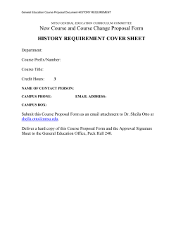 New Course and Course Change Proposal Form HISTORY REQUIREMENT COVER SHEET