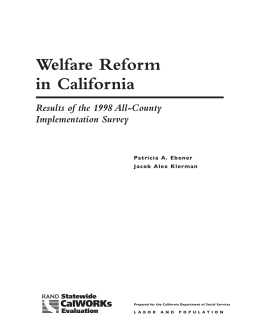 Recent Welfare Reform Research Findings