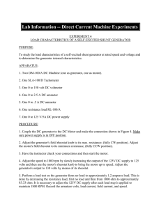Lab Information -- Direct Current Machine Experiments