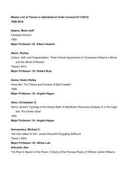 Master List of Theses in Alphabetical Order (revised 9/11/2014) 1969-2014