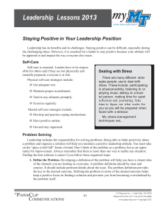 Leadership  Lessons 2013  Staying Positive in Your Leadership Position