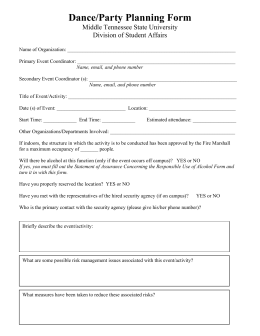 Dance/Party Planning Form Middle Tennessee State University Division of Student Affairs