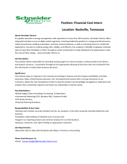 Position: Financial Cost Intern Location: Nashville, Tennessee