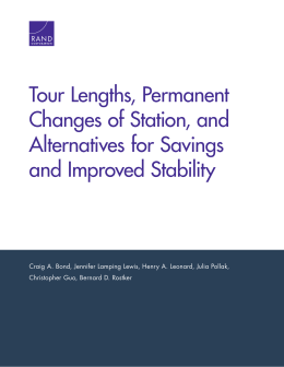 Tour Lengths, Permanent Changes of Station, and Alternatives for Savings and Improved Stability